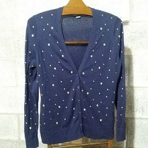 New! Navy Sweater & Gold Stars Large Cardigan